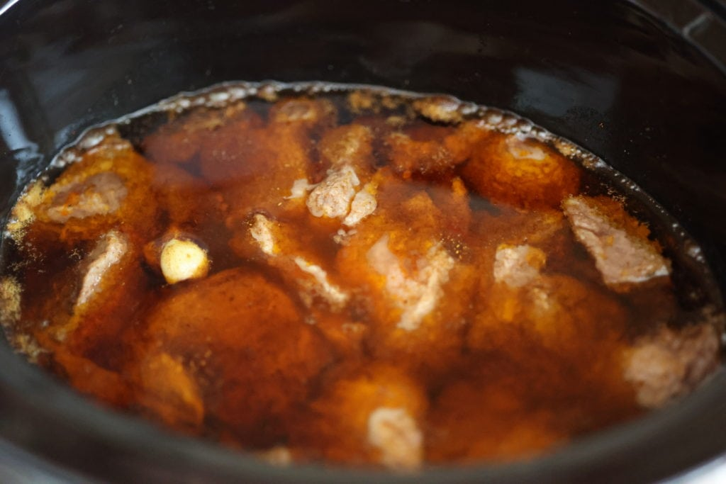 pork in slow cooker after an hour