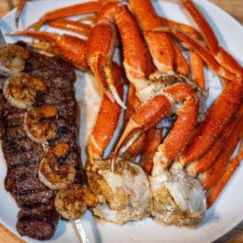 Steak shrimp and crab