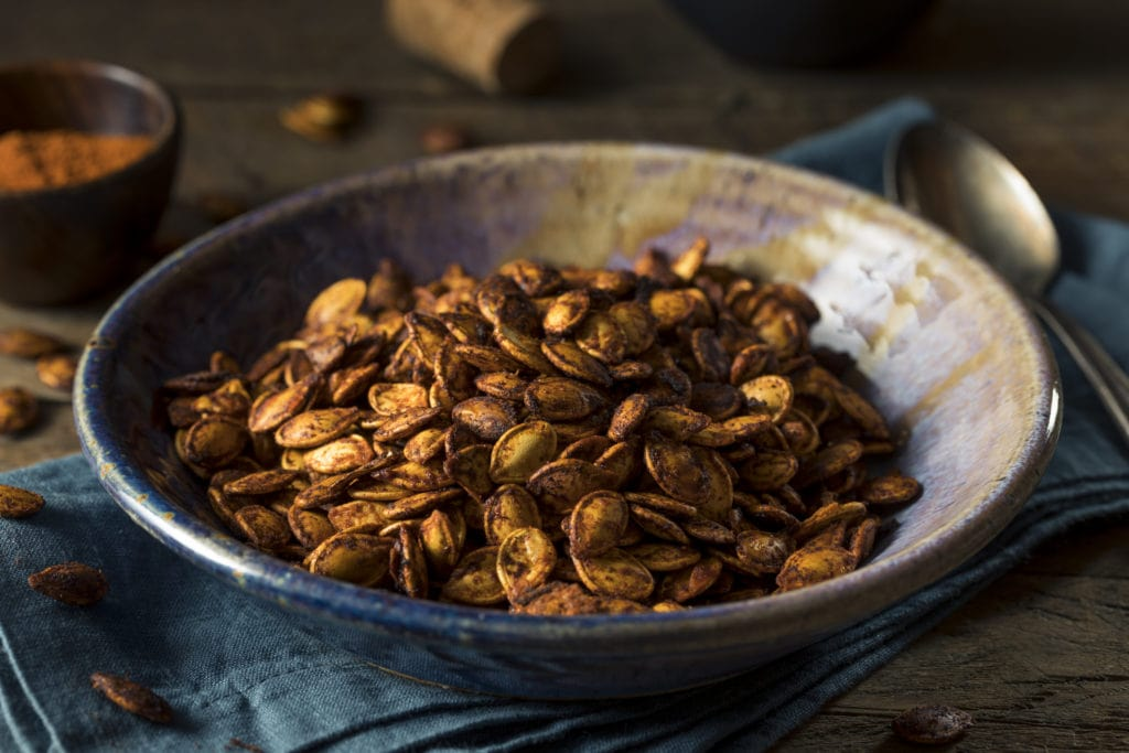 Homemade Roasted Spicy Pumpkin Seeds with Chili and Paprika